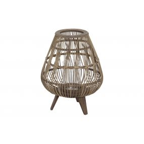 CANDLE HOLDER RATTAN GLASS 33X33X42 NATURAL BROWN