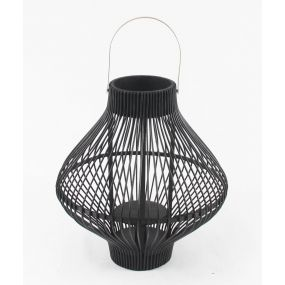 CANDLE HOLDER RATTAN GLASS 44X44X44 BLACK
