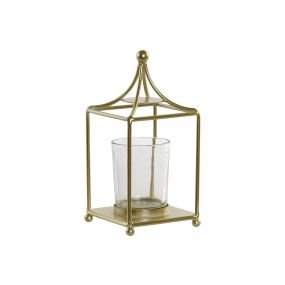 CANDLE HOLDER METAL GLASS 8X8X17 GOLDEN