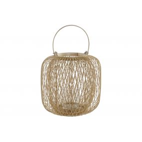 CANDLE HOLDER BAMBOO GLASS 30X30X42,5 NATURAL