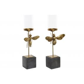CANDLE HOLDER RESIN IRON 20X11X67 10 INSECT 2 MOD.