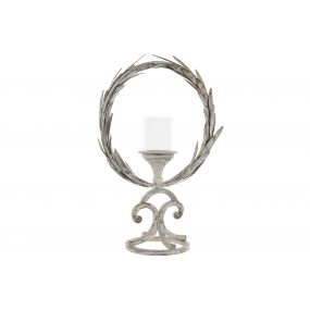 CANDLE HOLDER METAL GLASS 35X17X52 LAUREL WREATH
