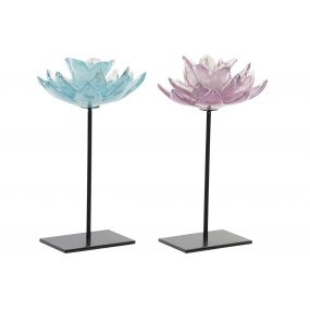 CANDLE HOLDER GLASS 16X16X29 FLOWER 2 MOD.