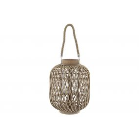 CANDLE HOLDER BAMBOO GLASS 31X31X65 NATURAL