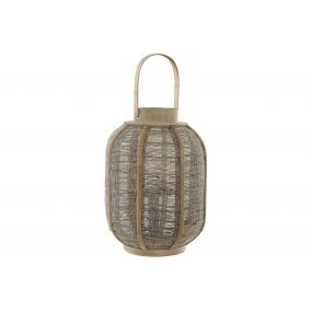 CANDLE HOLDER BAMBOO LINEN 27X27X51 NATURAL