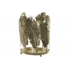 CANDLE HOLDER METAL GLASS 14,5X14,5X19,5 LEAVES