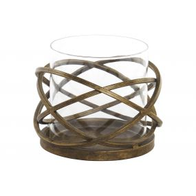 CANDLE HOLDER METAL GLASS 15X16,5X13 GOLDEN