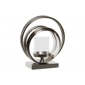 CANDLE HOLDER METAL GLASS 23X23X28 SILVER