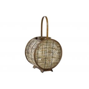 CANDLE HOLDER BAMBOO GLASS 28X20X40 HANDLE NATURAL