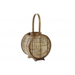CANDLE HOLDER BAMBOO GLASS 22X16X23 HANDLE NATURAL