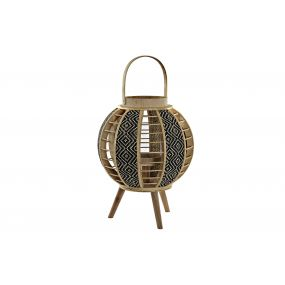 CANDLE HOLDER BAMBOO GLASS 32X32X55 IKAT NATURAL