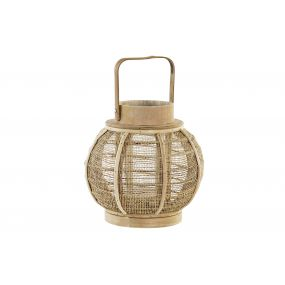 CANDLE HOLDER BAMBOO ROPE 23,5X23,5X22 NATURAL