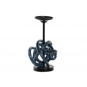 CANDLE HOLDER GLASS METAL 13X13X25 BALL BLUE