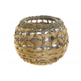 CANDLE HOLDER GLASS FIBER 20X16 NATURAL