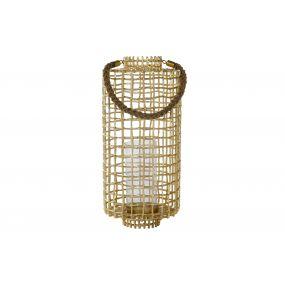 CANDLE HOLDER ALUMINIUM GLASS 25,5X25,5X57 GOLDEN