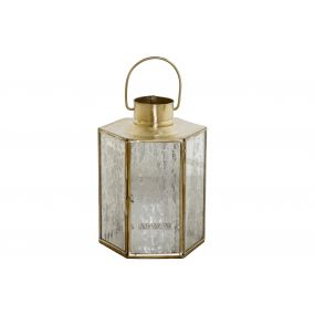 CANDLE HOLDER BRASS GLASS 14X14X20 GOLDEN