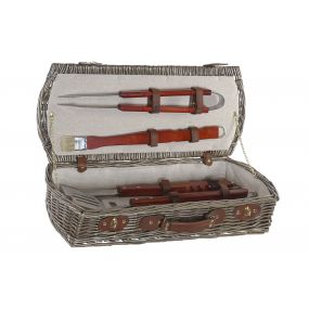 BARBECUE SET 5 WICKER WOOD 61X25X12 BASKET NATURAL