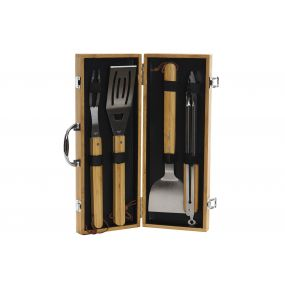 BARBECUE SET 4 INOX BAMBOO 43X18X6 NATURAL