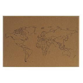 MEMO SET 6 CORK MDF 60X2X40 WORLD MAP NATURAL