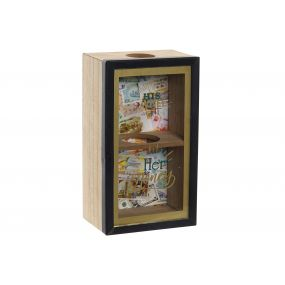 MONEY BOX MDF GLASS 12X7X22 SAVINGS BLACK