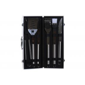 BARBACOA SET 6 INOX METAL 47X18X8 NEGRO