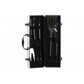 BARBECUE SET 5 INOX ALUMINIUM 38X12X9 BLACK
