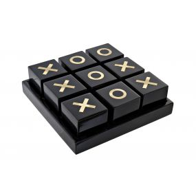 GAME RESIN BRASS 21X21X7 TIC-TAC-TOE BLACK
