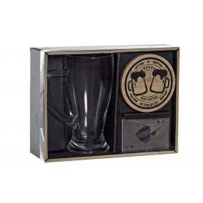 PRESENT/GIFT SET 3 GLASS BAMBOO 23X18X7 BEER BLACK