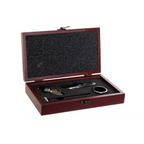 WINE SET 4 INOX MDF 23X13X5 OPENER BROWN
