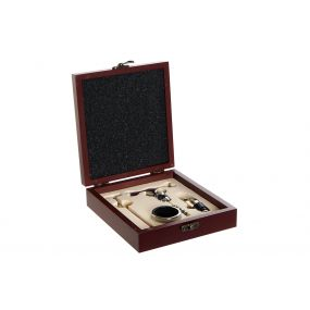 WINE SET 4 INOX MDF 15X17X5 OPENER BROWN