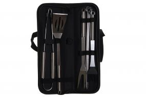 BARBECUE SET 10 INOX POLYESTER 39X11,5X5 BLACK