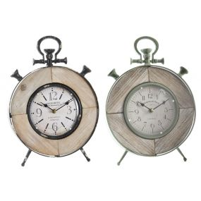 TABLE CLOCK METAL MDF 27X10X37 NATURAL 2 MOD.