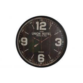 WALL CLOCK METAL GLASS 90X8,5 HOTEL AGED BLACK