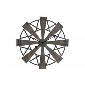 WALL CLOCK WOOD METAL 60X4,5X60 NATURAL