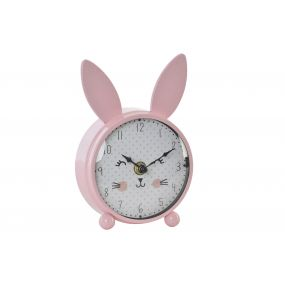 TABLE CLOCK METAL PLASTIC 11,5X4,5X17 RABBIT PINK