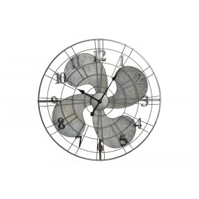WALL CLOCK METAL PP 74X7X74 FAN GREY