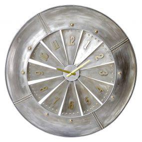 WALL CLOCK METAL 79X11X79 TURBINE GALVANIZED GREY