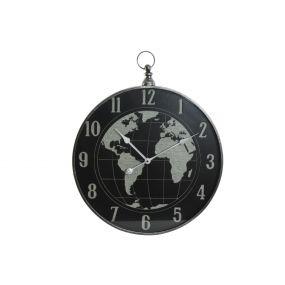WALL CLOCK METAL GLASS 60X6X73 WORLD MAP BLACK