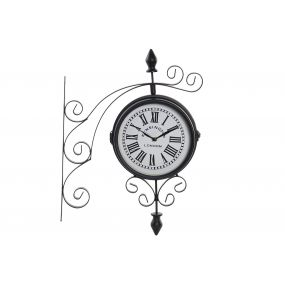 WALL CLOCK METAL 33,5X9X47 STATION BLACK