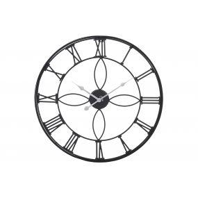 WALL CLOCK METAL 50X3,5X50 ROMANS BLACK