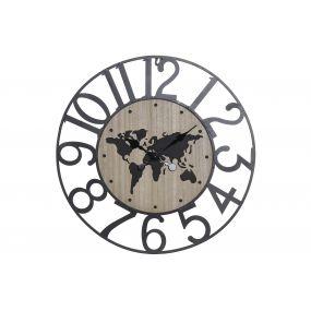WALL CLOCK METAL MDF 57X3,5X57 WORLD MAP BLACK