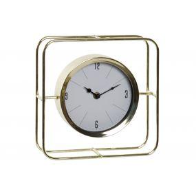 CLOCK METAL GLASS 21,8X6X21,8 SPARKLY GOLDEN
