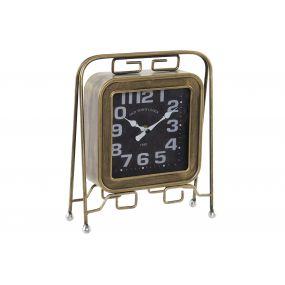 TABLE CLOCK METAL GLASS 21X7X26,5 ROCKER GOLDEN