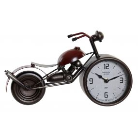 CLOCK METAL GLASS 32,5X10X18 MOTORCYCLE RED