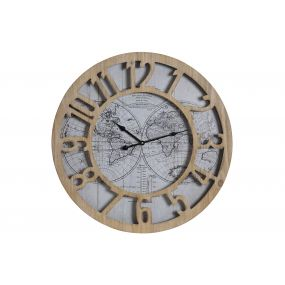 WALL CLOCK MDF GLASS 60X6X60 60 WORLD MAP NATURAL