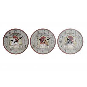 WALL CLOCK MDF 33,8X3,8X33,8 ROOSTER 3 MOD.