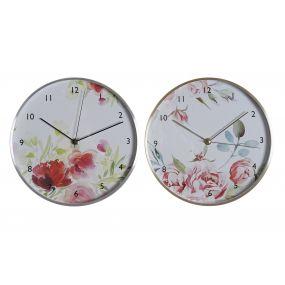 CLOCK ALUMINIUM GLASS 25X4X25 FLOWERS 2 MOD.