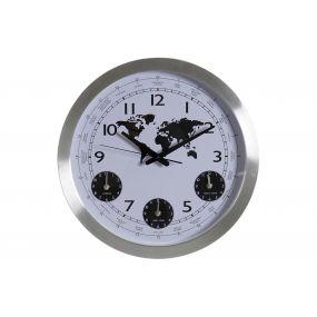 CLOCK ALUMINIUM GLASS 45,5X5X45,5 WORLD MAP SILVER