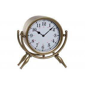 TABLE CLOCK METAL 37X14X40,5 GOLDEN