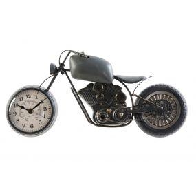 WALL CLOCK IRON GLASS 44X8X21 MOTORCYCLE GREY